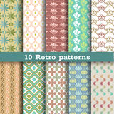 10 retro seamless patterns Royalty Free Stock Images