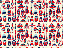 Retro seamless rocket pattern Stock Photography