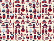 Retro seamless rocket pattern. Cartoon vector illustration Stock Photography