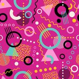 Retro seamless 1980s inspired memphis pattern background. Playful youthful geometric vector illustration Royalty Free Stock Images