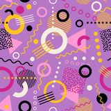 Retro seamless 1980s inspired memphis pattern background. Playful youthful geometric vector illustration Stock Photos