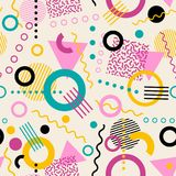 Retro seamless 1980s inspired memphis pattern background. Playful youthful geometric vector illustration royalty free illustration