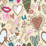 Retro seamless sweetheart pattern. Retro seamless pattern with hearts, flowers and kisses Royalty Free Stock Photos