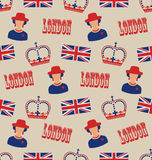 Retro Seamless Texture of Silhouettes Symbols of Great Britain Stock Photos