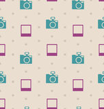 Retro Seamless Texture with Snapshots and Cameras, Vintage Royalty Free Stock Photos