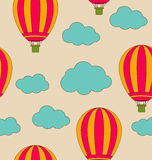 Retro Seamless Travel Pattern of Air Balloons and Clouds Royalty Free Stock Photo
