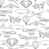 Retro seamless travel pattern of balloons and aircraft Stock Photo