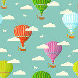 Retro seamless travel pattern of balloons. Vector illustration. Stock Photos