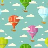 Retro seamless travel pattern of balloons. Vector illustration. Stock Photos