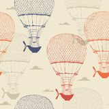 Retro seamless travel pattern of balloons. Vector illustration. Royalty Free Stock Image