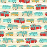 Retro seamless travel pattern of buses Stock Images