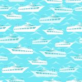 Retro seamless travel pattern of cruise liners Stock Images
