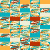 Retro seamless travel pattern of trains Royalty Free Stock Photography