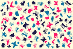 Retro Seamless Vector Pattern Of Cute Insects Set Stock Photography