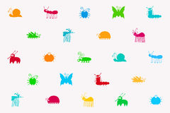 Retro Seamless Vector Pattern Of Cute Insects Set Royalty Free Stock Photo
