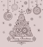 Retro seasonal greeting with lacy xmas tree and hanging baubles. Retro greeting with lacy xmas tree and hanging baubles royalty free illustration