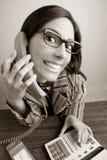 Retro secretary wide angle humor telephone woman. Retro secretary wide angle humor portrait talking telephone woman Royalty Free Stock Photos