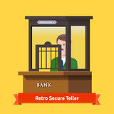 Retro secure caged teller window Royalty Free Stock Images