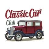 Retro sedan. Side view. Classic Car Club lettering. Engraving. Retro sedan. Side view. Classic Car Club calligraphic calligraphic lettering. Vintage color royalty free illustration
