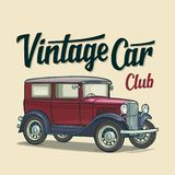 Retro sedan. Side view. Classic Car Club lettering. Flat illustration. Retro sedan. Side view. Classic Car Club handwriting calligraphic lettering. Vintage stock illustration