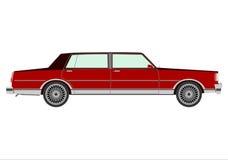 Retro sedan. Silhouette of red retro sedan on a white background Stock Images