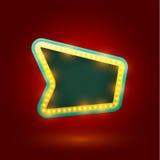 Retro segno con le lampade realistiche Fotografia Stock