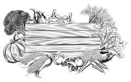 Retro segno d'annata della verdura dell'intaglio in legno Fotografie Stock Libere da Diritti