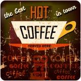Retro segno del caffè Fotografia Stock Libera da Diritti