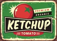 Retro segno del ketchup con il pomodoro succoso royalty illustrazione gratis