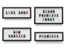 Retro segno del lightbox Annunciando il tabellone per le affissioni della scatola leggera per il film o il teatro per annunciare  illustrazione di stock