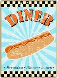 Retro segno della cena del hot dog Immagine Stock