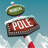 Retro segno della tenda foranea del polo nord con i ghiacciai nevosi illustrazione di stock