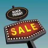 Retro segno di Black Friday Fotografie Stock