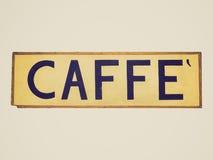 Retro segno di Caffe di sguardo Fotografie Stock
