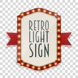 Retro segno leggero con le lampade ed il nastro rosso illustrazione vettoriale