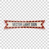 Retro segno leggero con le lampade nello stile realistico illustrazione vettoriale