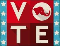 Retro segno promuovere il People& americano x27; voto per i repubblicani, illustrazione di s di vettore Immagine Stock