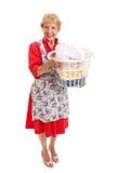 Retro Senior Lady - Laundry royalty free stock images