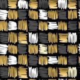 Retro senza cuciture del modello di immaginazione del quadrato dello scarabocchio dell'oro Immagine Stock Libera da Diritti