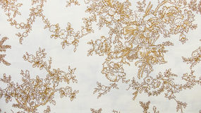 Retro Sepia van het Kant Bloemen Naadloze Patroon Bruine Stoffen Uitstekende Stijl Als achtergrond Royalty-vrije Stock Foto