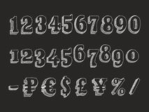Retro serif font numbers. Retro serif font Part 3 of 3. Vector hand drawn chalk doodle with hatching isolated on black background numbers and money signs dollar Stock Photography