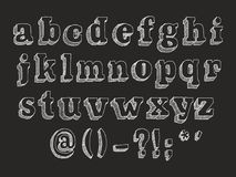 Retro serif font uppercase lowercase. Retro serif font Part 2 of 3. Vector hand drawn alphabet chalk doodle with hatching isolated on black background, abc Royalty Free Stock Photos