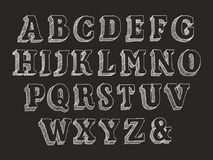 Retro serif font uppercase. Retro serif font Part 1 of 3. Vector hand drawn alphabet chalk doodle with hatching  on black background, abc symbols uppercase and Royalty Free Stock Photo