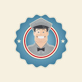 Retro service man in a badge Royalty Free Stock Photography