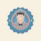 Retro service man in a badge. Retro illustration of a service man in a badge Royalty Free Stock Photography