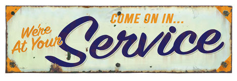 Retro Service Sign. Retro Vintage Tin Service Sign Royalty Free Stock Image