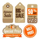 Retro set of autumn  vintage sale quality labels Stock Photos