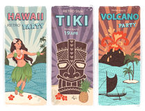 Retro set of banners with  Hawaiian symbols Royalty Free Stock Photo
