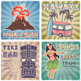 Retro set of banners with  Hawaiian symbols Royalty Free Stock Image