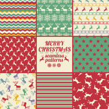 Retro Set Of Christmas And New Year Seamless Patterns With Deers Stock Photos